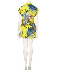 TOPSHOP - Yellow Tropicana Floral Playsuit - Lyst