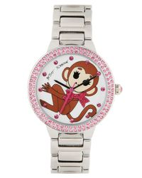 Betsey Johnson | Metallic Bling Bling Time Monkey Dial Watch | Lyst