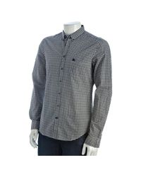 Burberry - Gray Brit Ink Gingham Print Cotton Long Sleeve Shirt for Men - Lyst