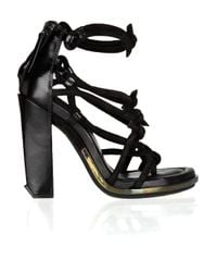 Alexander Wang - Black Tempest Knotted Leather and Suede Sandals - Lyst