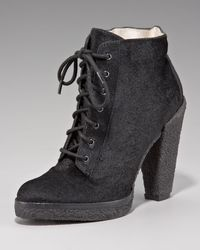 Belle By Sigerson Morrison - Black Calf-hair Lace-up Ankle Boot - Lyst