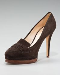 Casadei | Brown Suede Loafer Pump | Lyst