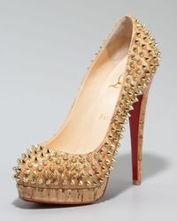Christian Louboutin - Metallic Altipump Spike Cork Pumps - Lyst