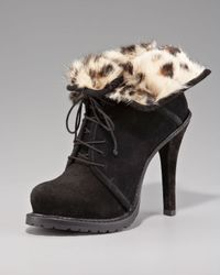 Elizabeth and James - Black Fur-lined Ankle Boot - Lyst
