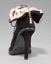 Elizabeth and James - Black Fur-lined Ankle Boot - Lyst