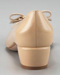 Ferragamo - Natural Vara-bow Low-heel Pump - Lyst