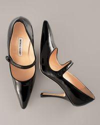 Manolo Blahnik | Patent Leather Mary Jane, Black | Lyst