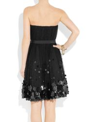 Boutique Moschino - Black Pailletteembellished Silk and Tulle Dress - Lyst
