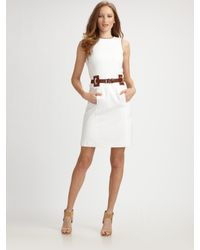 MICHAEL Michael Kors | Natural Stretch Cotton Belted Dress | Lyst