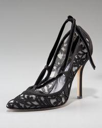 Oscar de la Renta   Black Lace Velvet-ribbon Pump   Lyst