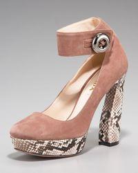 Prada | Multicolor Suede & Python Ankle-strap Pump | Lyst