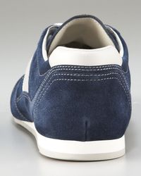 Prada - Blue Perforated Lace-Up Sport Sneaker - Lyst