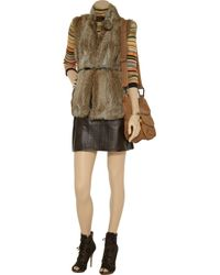 Tibi - Brown Perforated Leather Skirt - Lyst