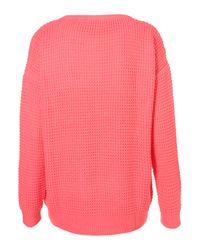 TOPSHOP - Pink Knitted Textured Stitch Jumper - Lyst
