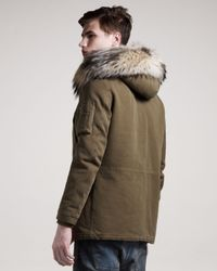 Balmain - Green Fur-trim Toggle Coat for Men - Lyst