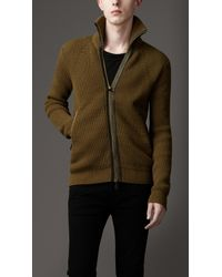 Burberry - Natural Cotton and Wool Knit Jacket for Men - Lyst