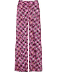Emanuel Ungaro | Black Wide-leg Printed Floral Silk-twill Pants | Lyst