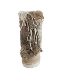 Fendi - Natural Suede and Rabbit Fur St. Mortiz Moon Boots - Lyst