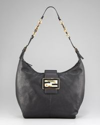 Fendi | Black Radica Zip Hobo, Large | Lyst