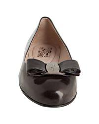 Ferragamo | Gray Dark Grey Leather Varina Bow Detail Flats | Lyst