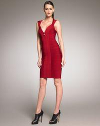 Hervé Léger   Red Front-zip Bandage Dress   Lyst