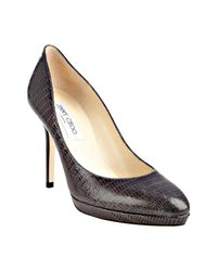 Jimmy Choo | Gray Lizard Embossed Leather Aimee Pumps | Lyst