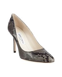Jimmy Choo | Gray Grey Snake Print Gilbert Pointed Toe Pumps | Lyst