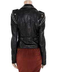Just Cavalli | Black Studded Cracked-leather Jacket | Lyst