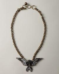 Lanvin - Gray Wing Pendant Necklace, Long - Lyst