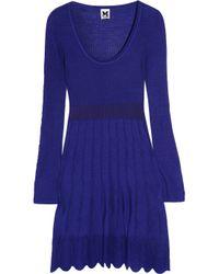 M Missoni | Blue Crochet-knit Cotton-blend Mini Dress | Lyst