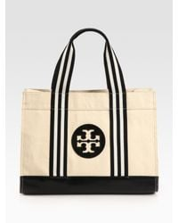 Tory Burch | Natural Tory Canvas & Leather Tote Bag | Lyst
