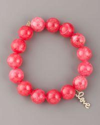Sydney Evan - Pink Jade & Diamond Charm Bracelet - Lyst