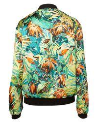 TOPSHOP - Green Hawaiian Floral Bomber - Lyst