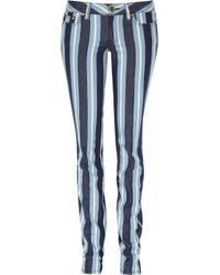 Tory Burch | Blue Mid-rise Striped Skinny Jeans | Lyst