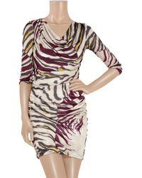 Emilio Pucci | Multicolor Satin-jersey Zebra-print Dress | Lyst