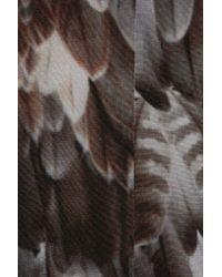 Emma Cook | Gray Feather-print Silk Crepe De Chine Dress | Lyst