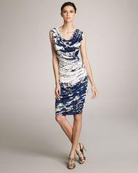 ESCADA - Blue Splash-print Jersey Dress - Lyst