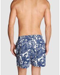 Etro - Blue Floral Print Swim Shorts for Men - Lyst