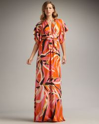 Issa | Orange Short-sleeve Kimono Maxi Dress | Lyst