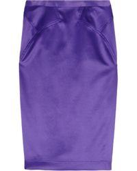 Just Cavalli | Purple Satin Pencil Skirt | Lyst