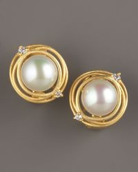 Majorica - White Gold Pearl Clip Earrings - Lyst