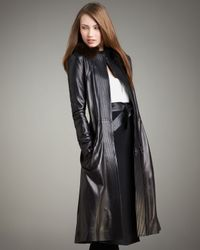 Narciso Rodriguez | Black Fur-collar Long Leather Coat | Lyst