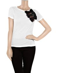 RED Valentino - White Bow-embellished Jersey T-shirt - Lyst