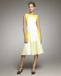 Thakoon | White Cap-sleeve Eyelet Colorblock Dress | Lyst