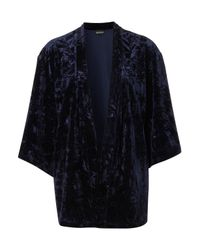 TOPSHOP | Blue Navy Velvet Kimono Jacket | Lyst