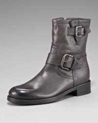 Alberto Fermani | Gray Buckle Flat Bootie | Lyst