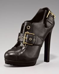 Alexander McQueen | Black Buckled Oxford Bootie | Lyst