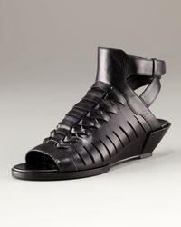 Alexander Wang | Black Nika Wedge Strappy Sandal | Lyst