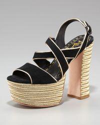 Alice + Olivia | Black Terry Suede Platform Sandal | Lyst