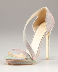 B Brian Atwood   Metallic Consort Open Toe Sparkly Strappy Platform Sandal   Lyst